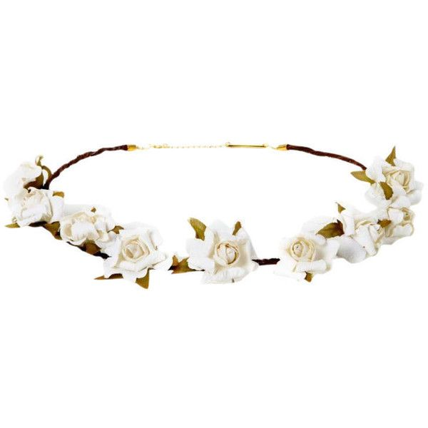 Cult Gaia Jasmin Flower Crown Ivory Jasmin_flowercrown ($48) ❤ liked on Polyvore featuring accessories, hats, extras, headwear, flower crown, head wrap headband, hair bands accessories, chain headband, flower garland and floral garland