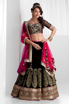 Black and pink lengha - Benzer World 2014 Collection