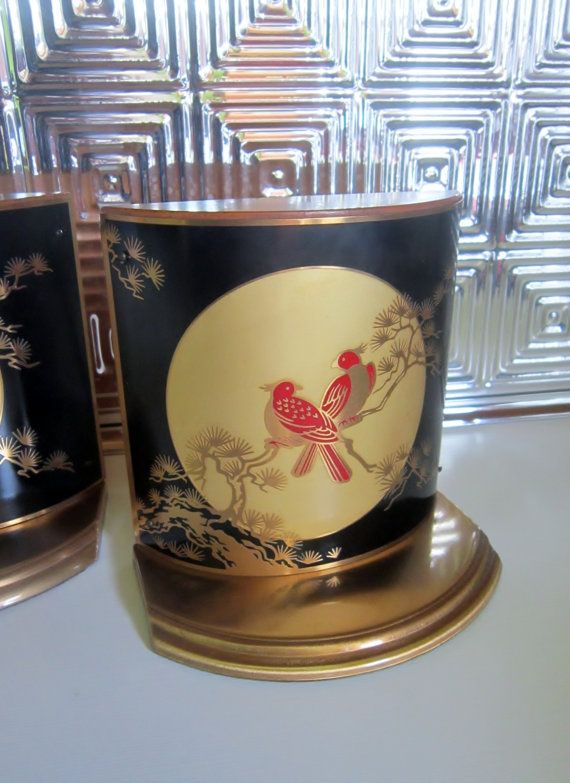 Asian Bookends Wood Enameled Brass with Red Birds by VistaChick