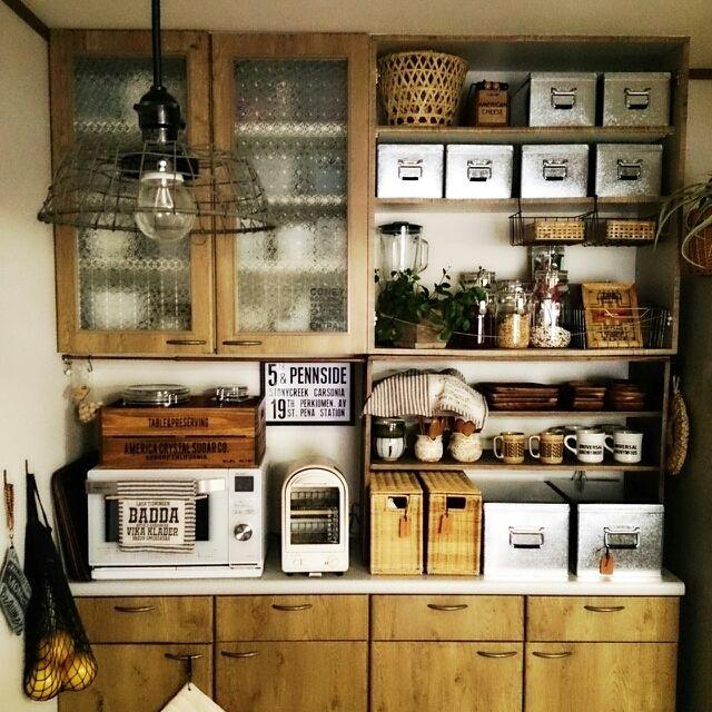 Lateさんの、見せる収納,キッチン収納,照明,DIY,M224さん♡,セラーメイト,リメイクシート,無印良品,Kitchen,のお部屋写真