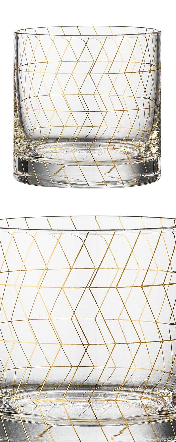 Chic, lovely, and reflective of a trend in beverage service, this set of Harline Drinking Glasses rounds out an elegant collection of serveware. Notice the intriguing pattern of gold geometric shapes a...  Find the Harline Drinking Glass - Set of 4, as seen in the A Private Luxury for Creatives Collection at http://dotandbo.com/collections/a-private-luxury-for-creatives?utm_source=pinterest&utm_medium=organic&db_sku=118890