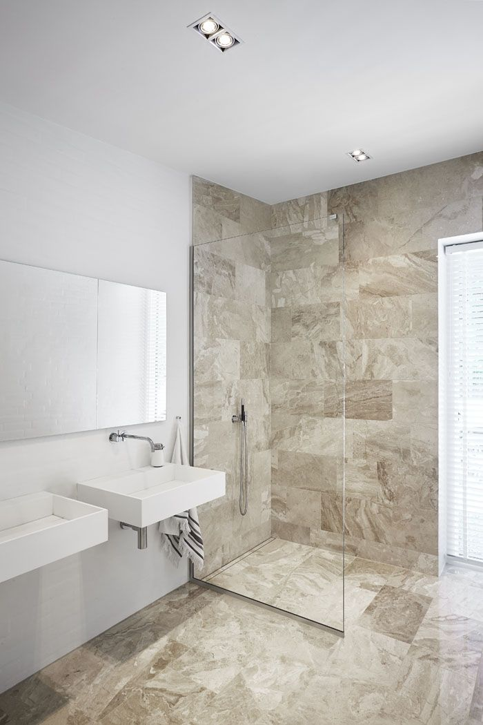 Beautiful And Elegant Glass Shower Screen In A Shower With Linear Floor  Drain With A Floor