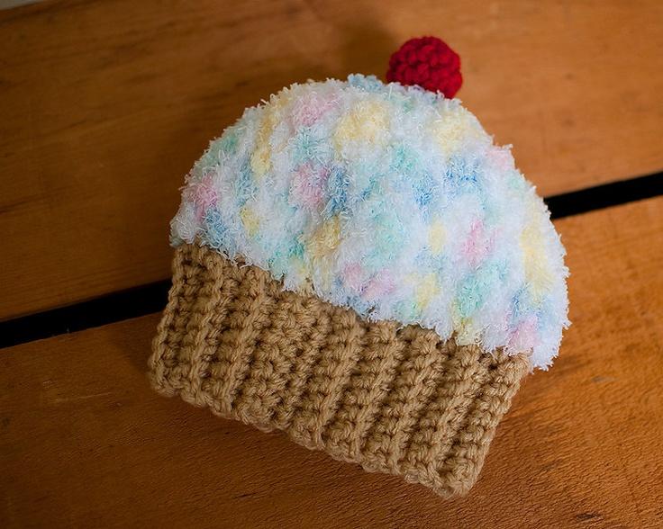 crochet baby hat cupcake beanie