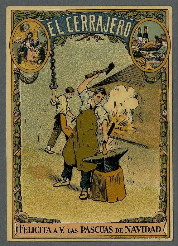 [Felicitaciones de Navidad de oficios..EL CERRAJERO Grabado — 1900-1940