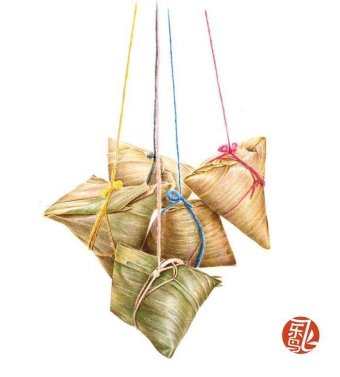 Chinese illustration for Zong Zi, rice dumplings. 手绘 彩铅画 色 ...