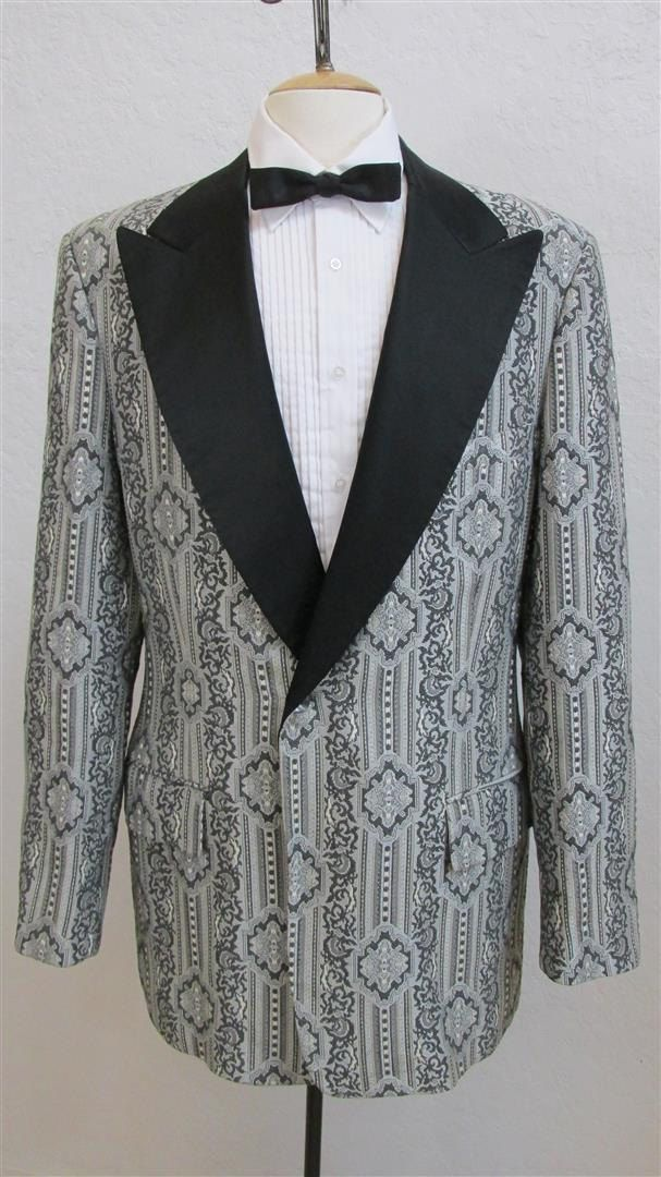 50's Vintage Men's Black Brocade Smoking Jacket med/large 63IaqG