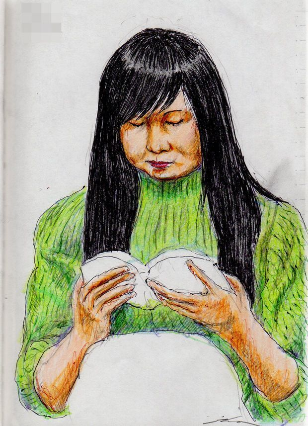 This is a sketch of the lady who put on the green sweater I drew in the train.
