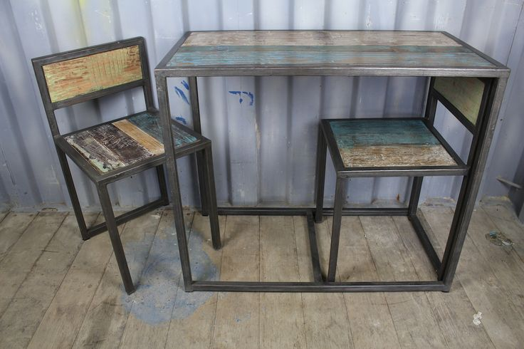 Industrial Wood & Iron Table Set