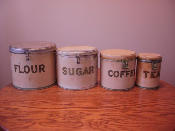 Price reduction  Primitive Canister Tin Set  by TreasuresYouNeed, $52.50