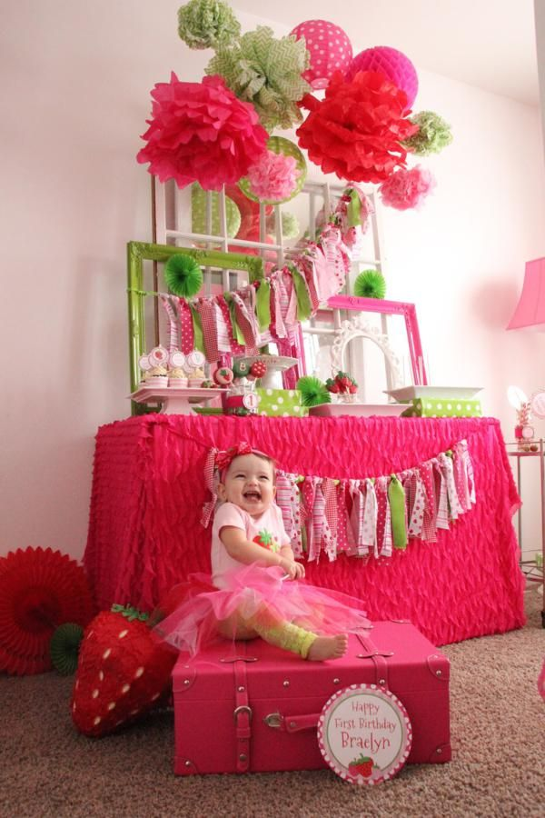 Strawberry themed first birthday party via Kara's Party Ideas karaspartyideas.com #strawberry #girl #1st #birthday #party #ideas
