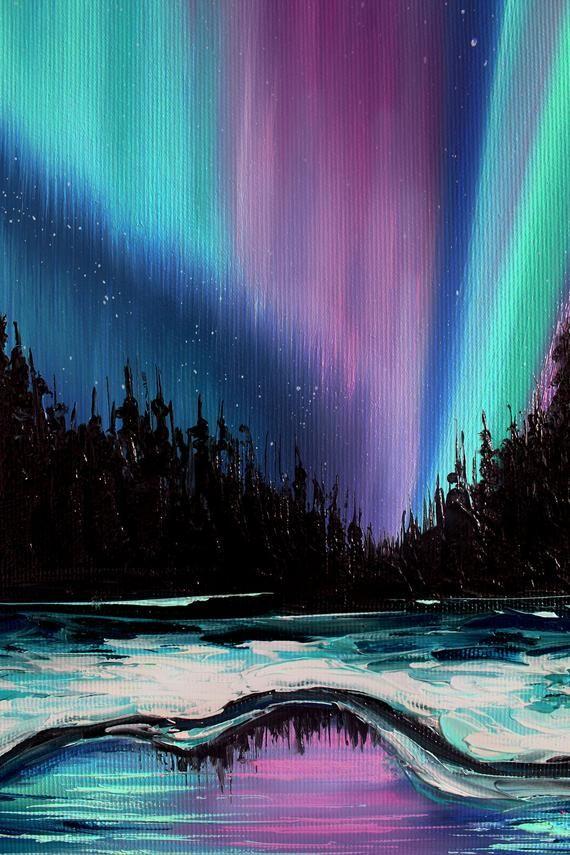 Aurora Christmas Lights 2020 Northern lights art Winter landscape Aurora borealis art | Etsy in