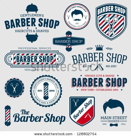 Set of vintage barber shop logo graphics and icons by Mike McDonald, via ShutterStock