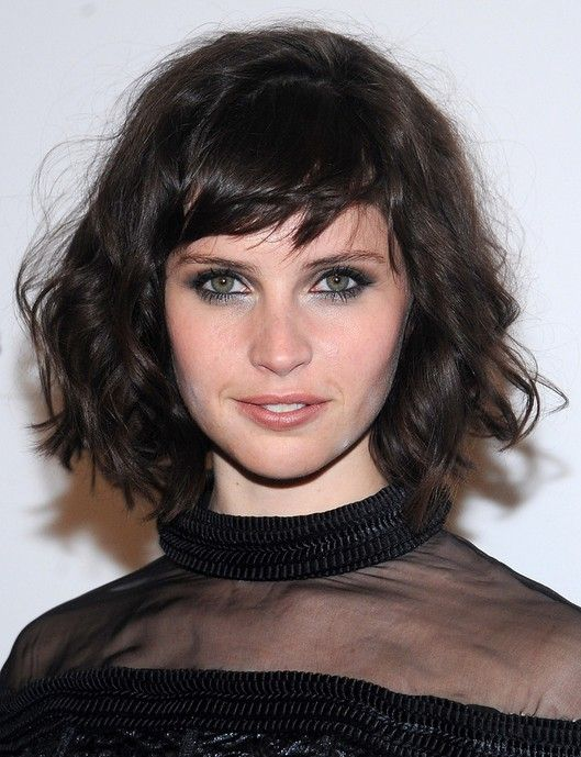 Celebrity Short Hairstyles: Felicity Jones Messy Curly Haircut