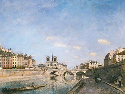 Johann Barthold Jongkind, Notre Dame and the Seine Fine Art Reproduction Oil Painting