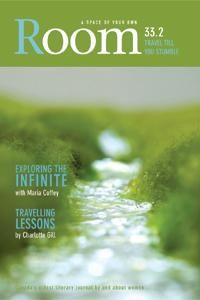 Room magazine 33. 2, Travel Till You Stumble. Edited by Adrienne Fitzpatrick. Featuring Maria Coffey. Cover art: A Wooly Saga of Creek, Eszter Burghardt, 2010