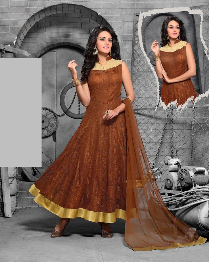 Brown Jute Net Readymade Ankle Length Anarkali Suit 70362