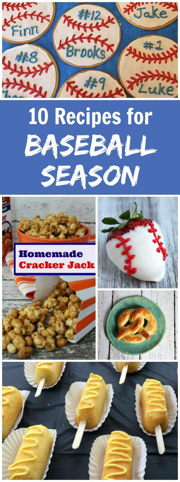 10 Recipes for Baseball Season:  Baseball Cookies, Baseball Cupcakes, Cracker Jacks, Homemade Soft Pretzels and more!