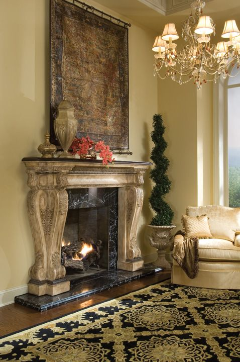 Victorian Style Fireplace Mantel With A Fossil Stone Top. Gorgeous  Intricate Detailed Columns With An