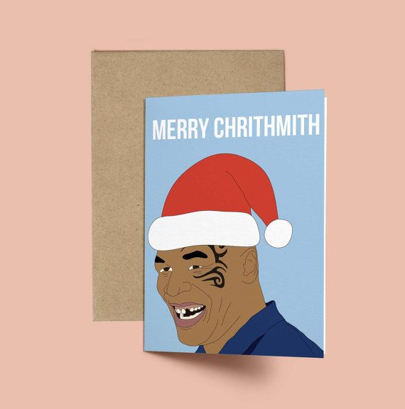 Mike Tyson Merry Chrithmith Funny Christmas Card by GREETYOSELF