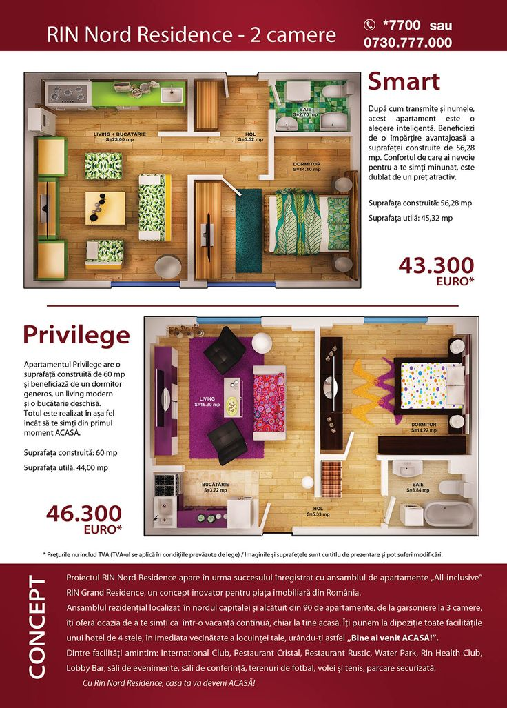 Prices for apartments
