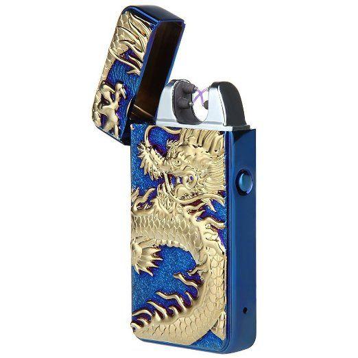 Pokin® impulsi elettronico doppio arco-Accendino per sigarette, senza fiamma Accendino antivento ricarica USB a forma di drago cinese EURO 25,84