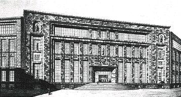 Progetto presentato da Giuseppe Samonà al concorso nazionale per il nuovo palazzo postale di Napoli. La forte incorniciatura del fronte su tre lati e altri dettagli dimostrano la notevole influenza dell'architettura tedesca nelle opere del periodo.