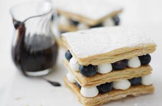 Blueberry and lemon millefeuille with creamy chocolate sauce recipe god this looks good...it will take a bit of effort to make but it's well worth it...x