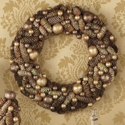 Sage & Co. Donna Stevens Glittered Pinecone and Ball Wreath $34 (OUT OF STOCK)