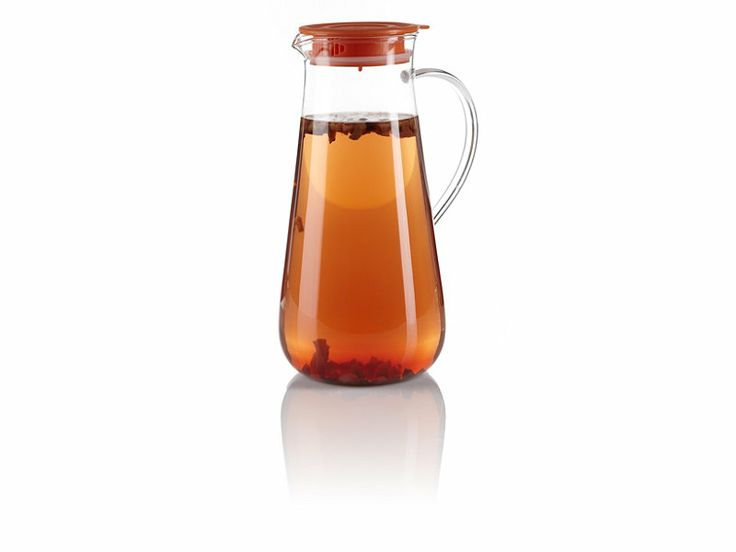 Iced Tea Pitcher with Orange Lid ::: Perfect for serving and enjoying iced tea!