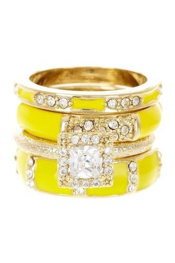 Enamel Stone Stacked Ring Set on HauteLook