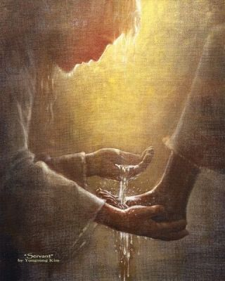 """13 """"You call me 'Teacher' and 'Lord,' and rightly so, for that is what I am. 14 Now that I, your Lord and Teacher, have washed your feet, you also should wash one another's feet. 15 I have set you an example that you should do as I have done for you. 16 Very truly I tell you, no servant is greater than his master, nor is a messenger greater than the one who sent him. 17 Now that you know these things, you will be blessed if you do them~John13:12-17"""