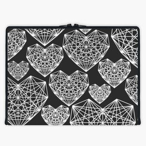 'Abstract Love' Laptop Sleeve By Fimbis | Snupped #pattern #abstract #heart #macbook #macbookpro #Lenovo #fashion #blackandwhite #monochrome
