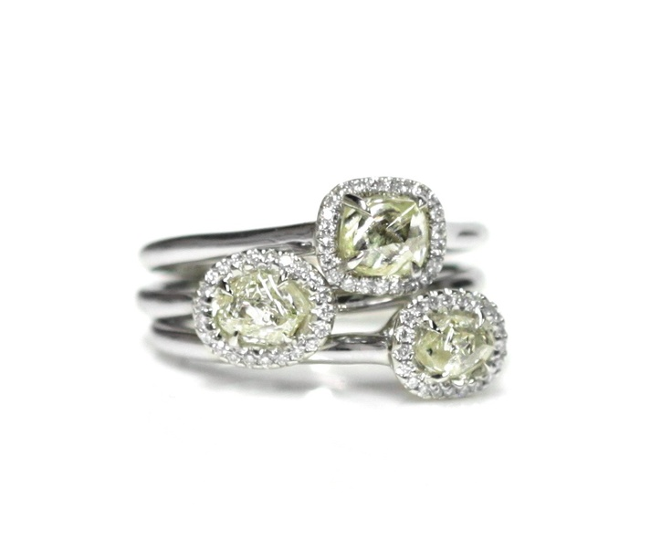 """Stack of rough diamond rings from the """"Grace"""" collection by Diamond in the Rough."""