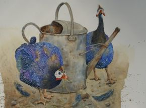 """Susan Mitchell""""Guinea Fowl with Watering Can""""Watercolour"""