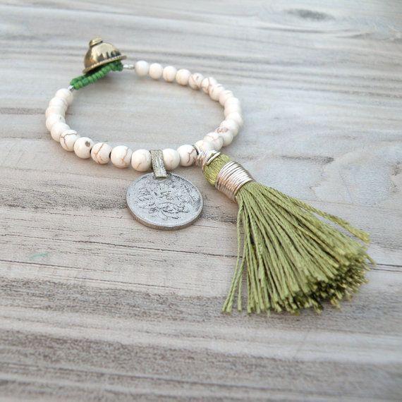 Gypsy Mala Bracelet in White Howlite with Chartreuse Green Tassel by GypsyIntent