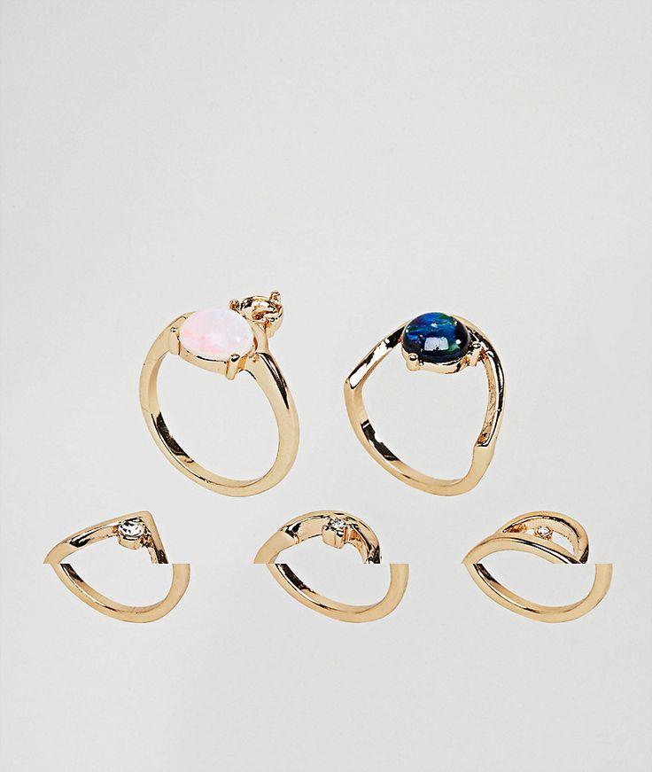 ASOS - Schimmernde Schmuckstein-Ringe im 5er-Set - Gold Jetzt bestellen unter: https://mode.ladendirekt.de/damen/schmuck/ringe/goldringe/?uid=04660d0e-ca8c-561a-8a5c-7d81a3ce213f&utm_source=pinterest&utm_medium=pin&utm_campaign=boards #schmuck #ringe #sale #uhren #female #goldringe