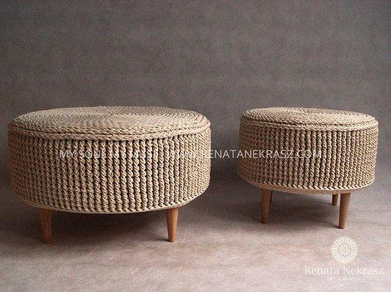 PROMOTION Crochet pouf crochet footstool round pouf by RNArtDesign