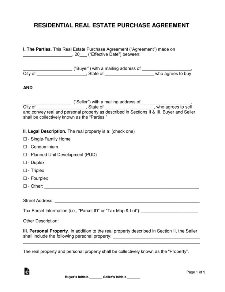 Free Purchase Agreements Word Pdf Eforms Free Fillable