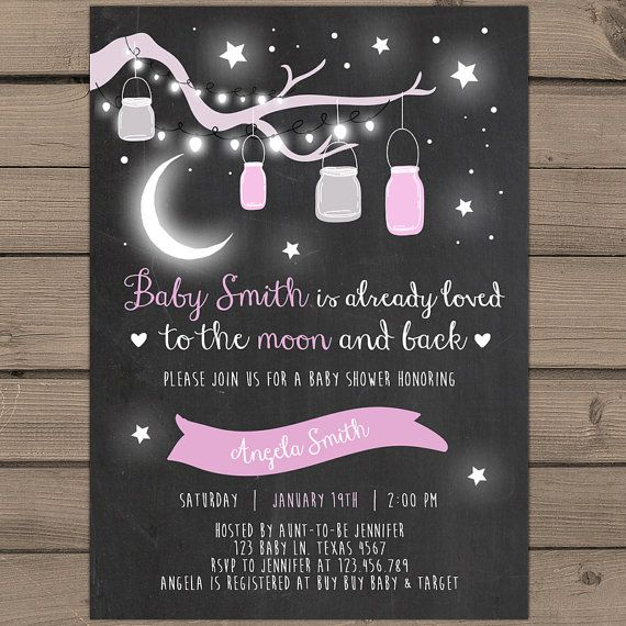 Baby Shower invitation Pink Loved to the moon and back Baby Shower invite Mason jars Stars Pink Baby Girl Chalkboard Digital Printable