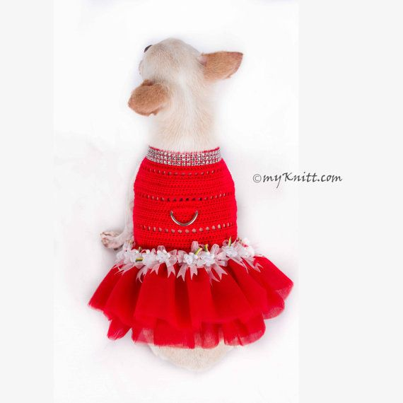 Tutu cane rosso, vestito da cane di Natale, abito da sposa da sposa, vestiti per chihuahua da tè, finimenti per cani, Myknitt DF22