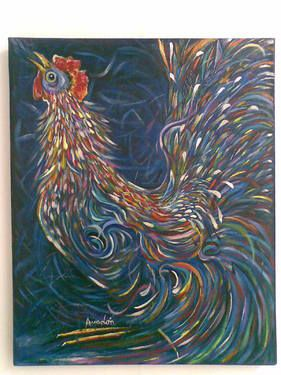 """The Singer"""" original Oil painting by Cuban American Artist Amadon."""