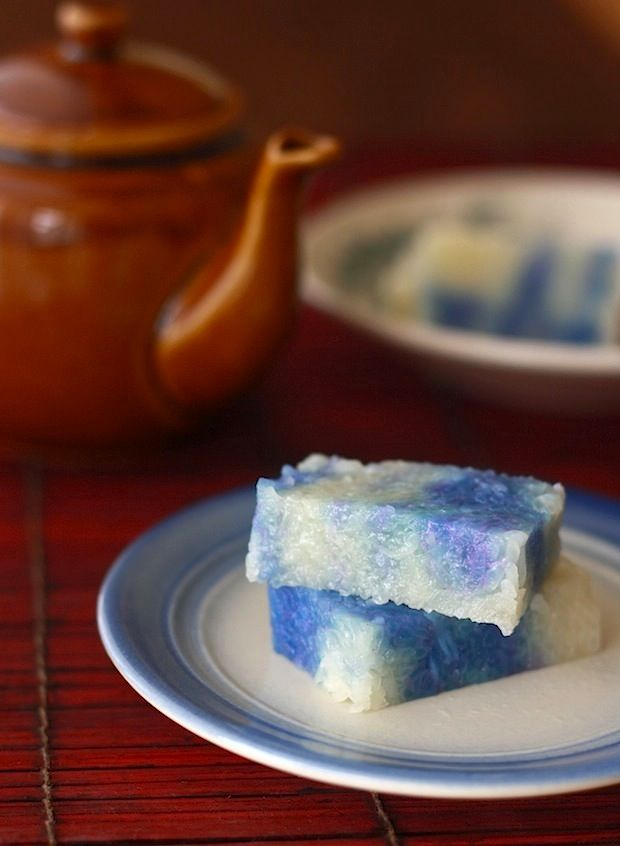 malaysian nyonya style kuih kaya. Spices Unearthed; Blue Pea Flower. A natural blue dye.