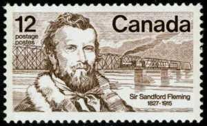 Sir Sandford Fleming: Inventor of Time  Scottish immigrant to Canada--  After the frustration of his missing an Irish train, Fleming went on to create Meridian Standard Time in 1878.  Standard Time replaced the dangerous chaos of 144 different North American time zones. Every city had its own Sir Sanford Fleming Stampunique time, none of which agreed with any other city.  Standard Time went a long way towards keeping locomotives from crashing into each other because of different clocks