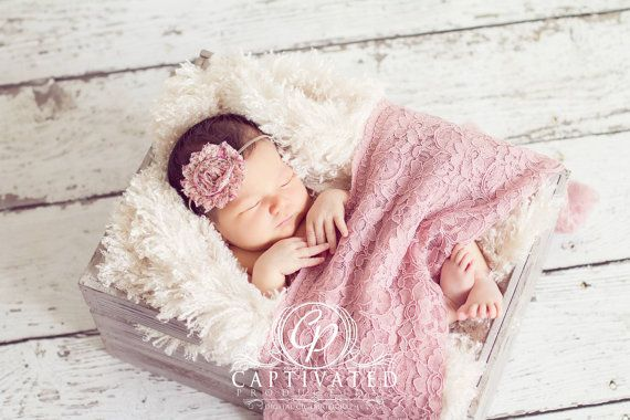 25% DISCOUNTED Photographer's Package: Rose Lace Wrap with Scalloped Edge, Ivory Fur Layering Piece, & Two Headbands for Newborn Photo Shoot