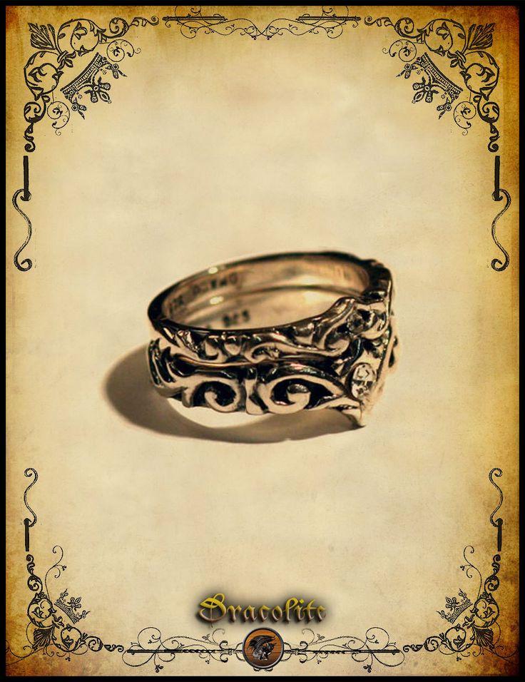 bam02 medieval ring duol wedding ring sterling silver 925 - Medieval Wedding Rings