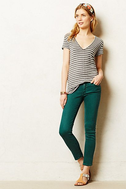 This is a fun outfit - love the pants color matched with a muted casual shirt. AG Stevie Ankle Jeans - anthropologie.com