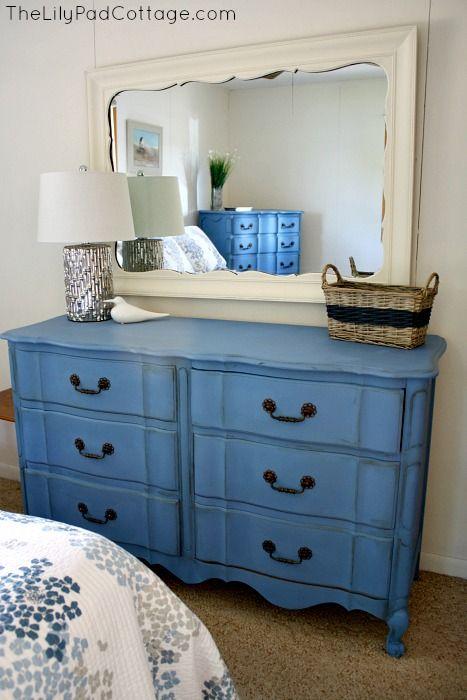 Greek Blue Chalk Painted Dresser from @Kelly Rinzema (thelilypadcottage)