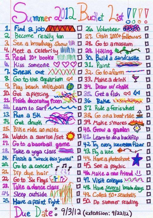 Summer bucket list!!(: