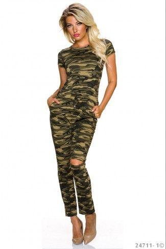 Ολόσωμη φόρμα σε army look - Καμουφλάζ Κρεμ