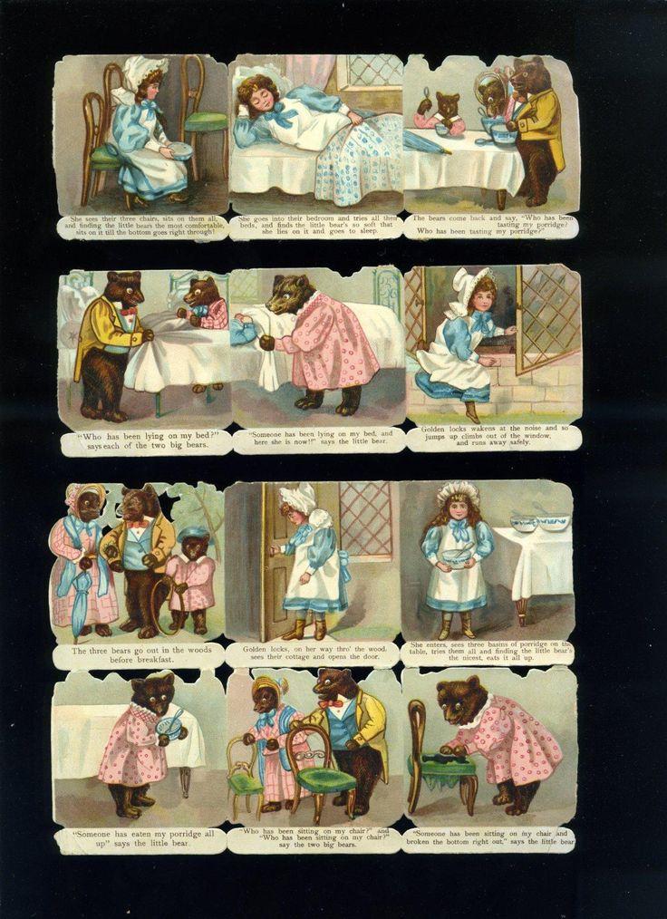 Three Bears, Goldilocks, Die Cut Nursery Story Strips, Possibly Tuck, from scrapsanddolls on Ruby Lane